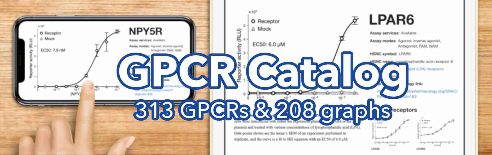 GPCR catalog. 313 human receptors are listed and 208 of them have dose-response curves, EC50, available assay modes, and more.